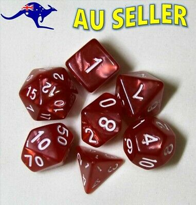AU8.97 • Buy Dice 7 Piece Set D & D Red Pearl Polyhedral Dice Dungeons & Dragons Pathfinder