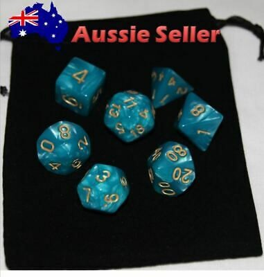 AU8.97 • Buy Dice 7 Piece Set D & D Teal Polyhedral Pearl Dice Pathfinder Dungeons & Dragons