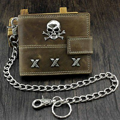 £18.46 • Buy Skull Biker Span Leather Wallet With Coins Purse And Safe Chain