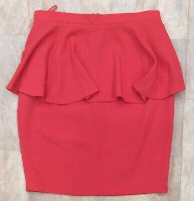 Topshop Bright Coral Short High Waisted Peplum Skirt Summer Party  Size 6 • 12.50£
