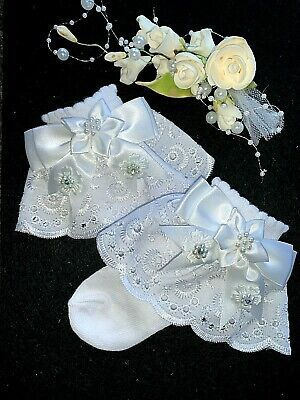 Girls-christening-white Ankle Socks-butterfly-diamante-lace-special Occasion • 9£