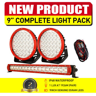 AU148.97 • Buy NEW RED OSRAM 9  LED Spot Driving Lights Set Work 22  Light Bar 12V24V Truck 4WD