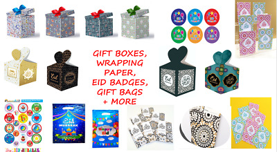 Eid Mubarak Cards Bags Boxes Gift Wrapping Paper Stickers Badges Kids • 3£