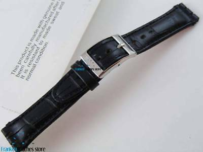 $ CDN27.14 • Buy NEW Black Leather Watch Band Strap Parts For SWATCH Irony Chronograph Size 17mm