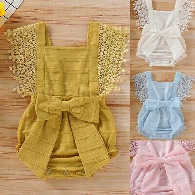 AU13.94 • Buy Newborn Toddler Baby Girl Cute Solid Lace Bow Romper P Bodysuit Clothes Outfits