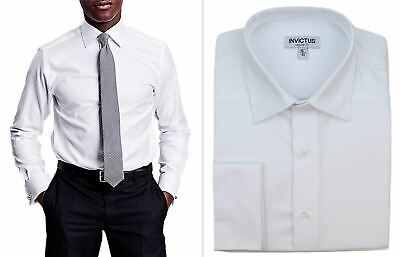 Mens Formal Shirt Invictus Regular Fit Easycare Cotton Double French Cuff • 17.99£