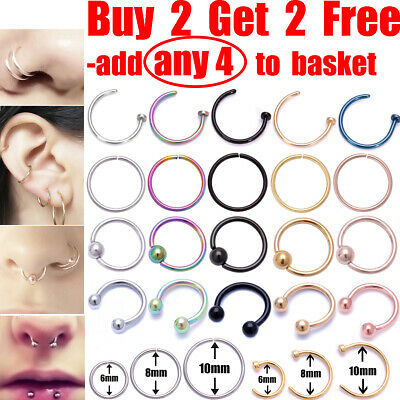 Nose Ring Nose Lip Rings Ear Helix Tragus Piercing Ring Surgical Steel Nose Ring • 1.39£