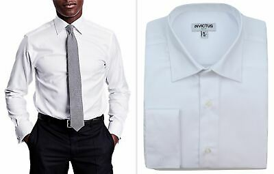 Mens Formal Shirt Invictus 2  Longer Tall Fit Pure Cotton Double French Cuff • 17.99£