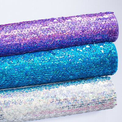 Felt Backed Holographic Sequin Fabric - Fabric Felt Perfect For Bow Making  • 3.94£