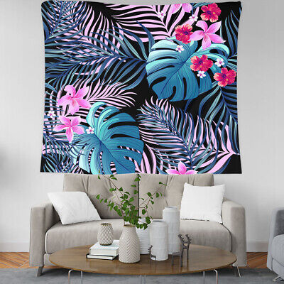 Tropical Plant Flower Banana Leaves Wall Ceiling Decor Hanging Tapestry Curtain • 12.99£