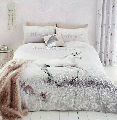 £15.99 • Buy Catherine Lansfield Enchanted Unicorn Quilt Cover 3D Girls Glitter Print Bedding
