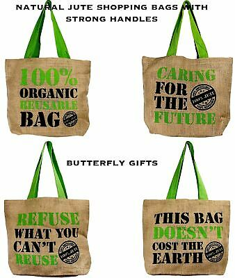 £5.45 • Buy Natural Eco Friendly Grocery Shopping Bag Jute Hessian Shopper Reusable Tote New