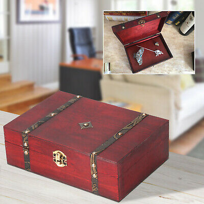 Wooden Vintage Treasure Chest Wood Jewellery Storage Box Case Organiser Ring • 6.69£