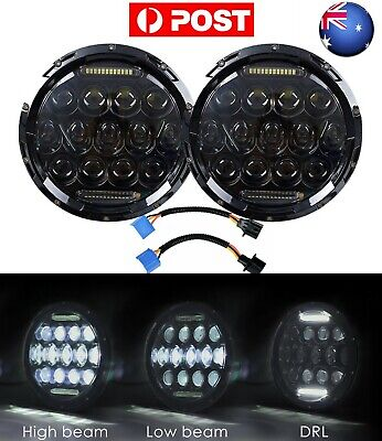 AU59.99 • Buy AU Pair 7  Inch Black LED Headlight DRL For JEEP JK GQ PATROL Projector Insert