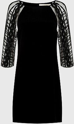 £45 • Buy NOUGAT Black Dress With 3/4 Tulle Sequin Sleeves Flared Hem Size 10  RRP £199
