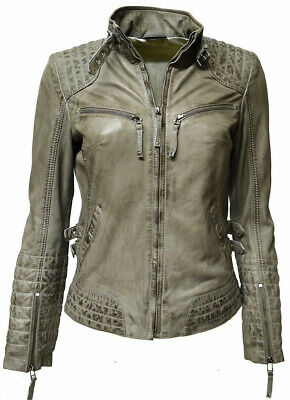 check out a7fb5 a5325 lederjacke damen grau echtleder