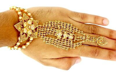 Gold CZ Stone Bracelet With Five Rings Attached Wedding Jewelry Bracelet Indian • 15.99£