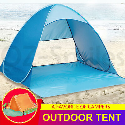 AU34.77 • Buy Pop Up Beach Canopy UV Camping Fishing Tent Mesh Sun Shade Shelter 4 Persons