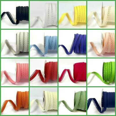 Picot Lace Edge Plain Bias Binding Trimming Edging - Free Postage - 24 Colours • 19.50£