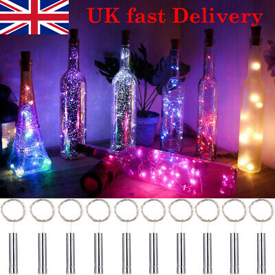 Wine Bottle 20 LED String Lights Battery Operated For Home Decoration Metallic • 2.39£