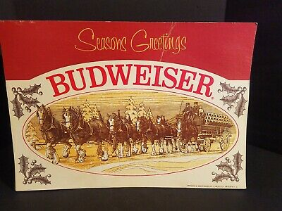 $ CDN50.62 • Buy Vintage Budweiser 1977 CLYDESDALE SEASONS GREETINGS Cardboard Store Display Sign