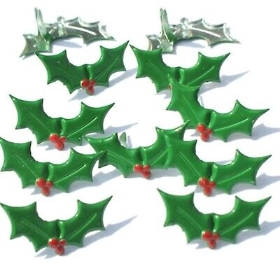 $2.25 • Buy Christmas HOLLY BRADS Berry Green Holiday Scrapbooking Stamping Card Making
