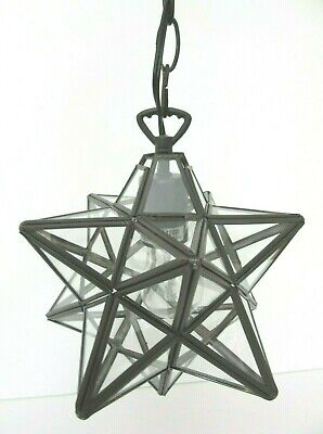 MOROCCAN MORAVIAN STAR LIGHT PENDANT HANGING CEILING LIGHT 10  Clear Glass New • 54.95$