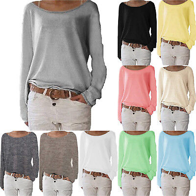 AU12.34 • Buy Womens Long Sleeve T-Shirt Loose Casual Tops Blouse Ladies Boat Neck Basic Tee
