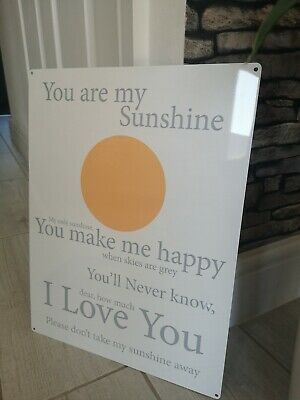 Metal Wall Plaque You Are My Sunshine Nursery Children's Gift Song Lyrics  • 9.99£