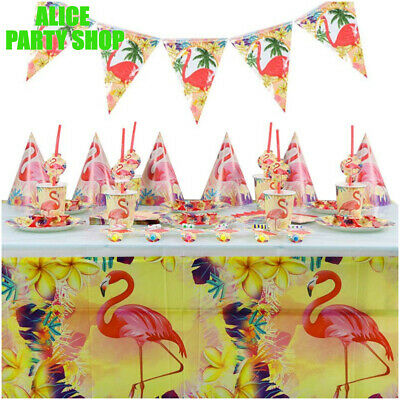 NEWEST FLAMINGO Birthday Hawaiian Luau  PARTY Supplies CUP Plate Napkin BALLOON  • 3.49£
