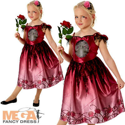 Skeleton Zombie Bride Girls Fancy Dress Rags And Roses Halloween Kids Costume  • 12.99£