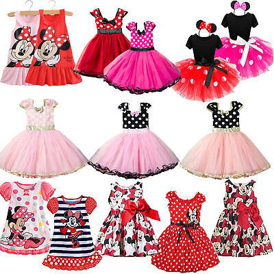 Minnie Mouse Toddler Kids Tutu Tulle Skirt Birthday Party Dress For Girl Clothes • 10.29£