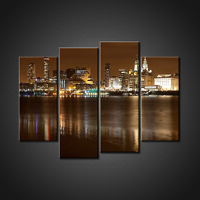 £38.01 • Buy Liverpool Night Cistyscape Night Rint Picture Wall Art Home Decor Free P&p