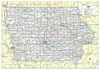 AU26.22 • Buy Cool Owl Maps Iowa State Wall Map Poster - Laminated 34 X24