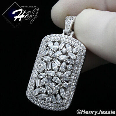$39.99 • Buy Men 925 Sterling Silver Icy Baguette Diamond Silver Dog Tag Pendant*sp251