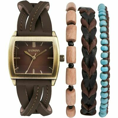£9.99 • Buy Ladies Kahuna Brown Leather Strap Watch AKLS-0287L & 3 Bracelets RRP £39/ GIFTS