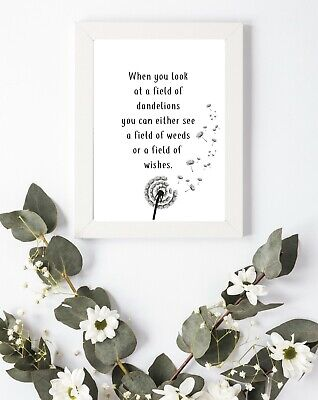 Typography Print A4 Dandelion Weeds Wishes Quote Gift Home Wall Decor Fun • 3.75£