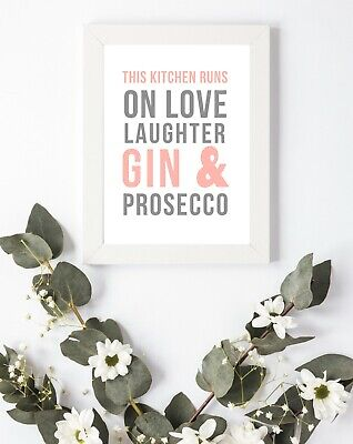 Typography Print A4 Quote Gift Kitchen Prosecco Love Shabby Wall Art Gin • 3.75£