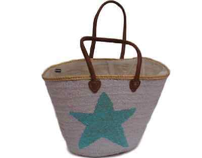 White Moroccan Made Beach Bag With Sequin Stars • 55$