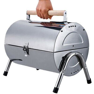 AU45 • Buy Portable Stainless Steel Barrel Charcoal Grill BBQ Wood Barbecue Outdoor Camping