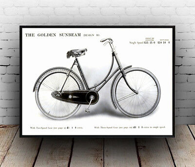 1914 Golden Sunbeam Cycle Advertising Poster Reproduction • 8.28£