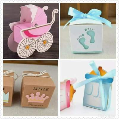 £6.50 • Buy Baby Shower Party Favour Boxes X10 Pram Blue Pink Cute Boy Girl Christening