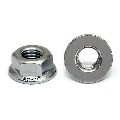 $4.96 • Buy M4-0.70 Metric Stainless Steel Hex Flange Nuts, DIN 6923 A2-70 / 18-8 Grade
