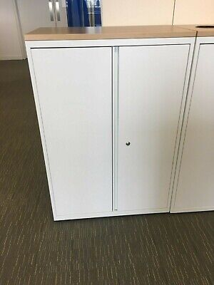 USED BISLEY WHITE METAL 2 DOOR OFFICE CUPBOARD 1200MMH X 800MM  OAK TOP X 2  • 237.60£