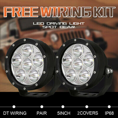 AU79.95 • Buy Pair 5 Inch CREE Round Black LED Spot Driving Lights Offroad 4x4 ATV Work Lamp