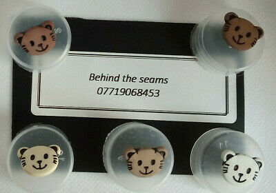 Cat Buttons Smiley Face Etched 15mm Round Shank,baby,children.Novelty 5 Colours • 2.95£