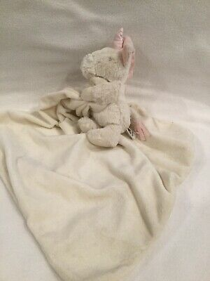 Jellycat White Unicorn Pink Horn Security Blanket Lovey • 12£