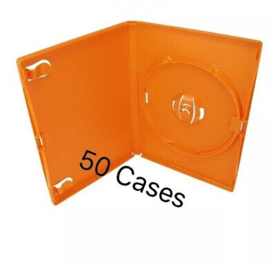 @ 50 Orange Empty Blank Cases, Blank For CD's DVD's Or Blu-ray 14mm Spine -4 • 12.99£