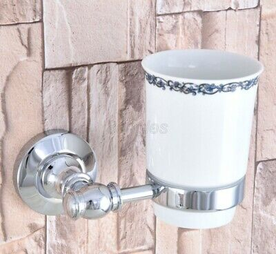 Polished Chrome Wall Mounted Toothbrush Holder With Single Ceramic Cup 8ba789 • 21.74£
