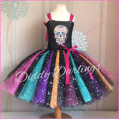 $63.59 • Buy Day Of The Dead Tutu Dress Costume Fancy Dress All Size Sugar Skull Coco Hallowe